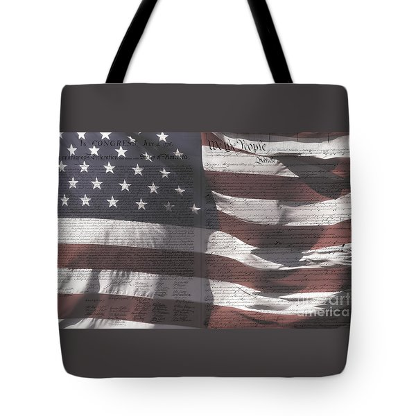 Historical Documents On Us Flag Tote Bag