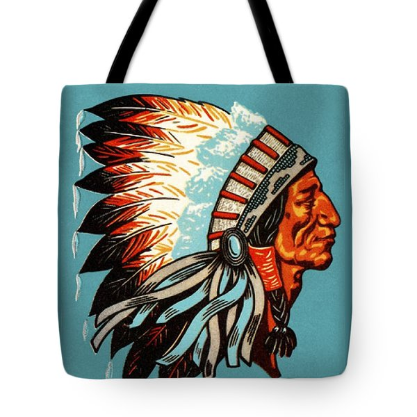 American Indian Chief Profile Tote Bag