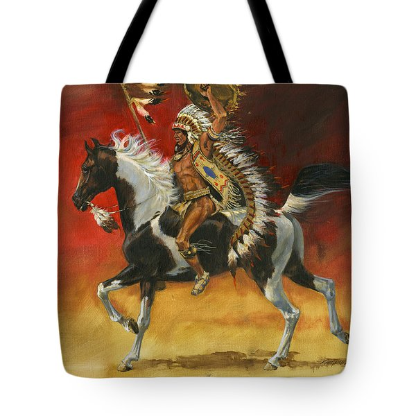 Indian Warrior Bareback Spotted Horse Tote Bag