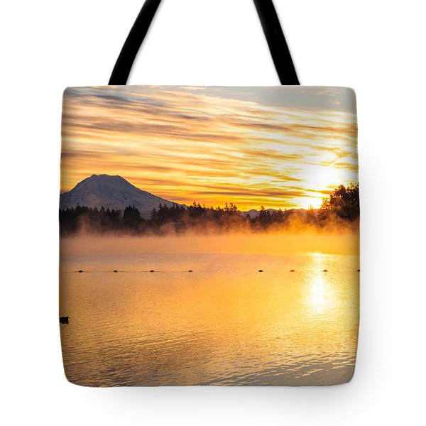 American Lake Misty Sunrise Tote Bag