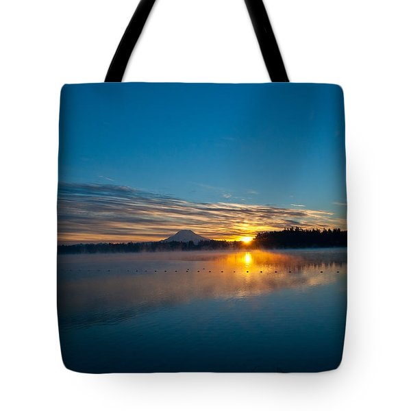 American Lake Sunrise Tote Bag by Tikvah's Hope