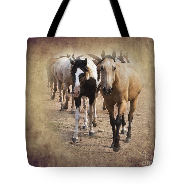 American Quarter Horse Herd Tote Bag by Betty LaRue