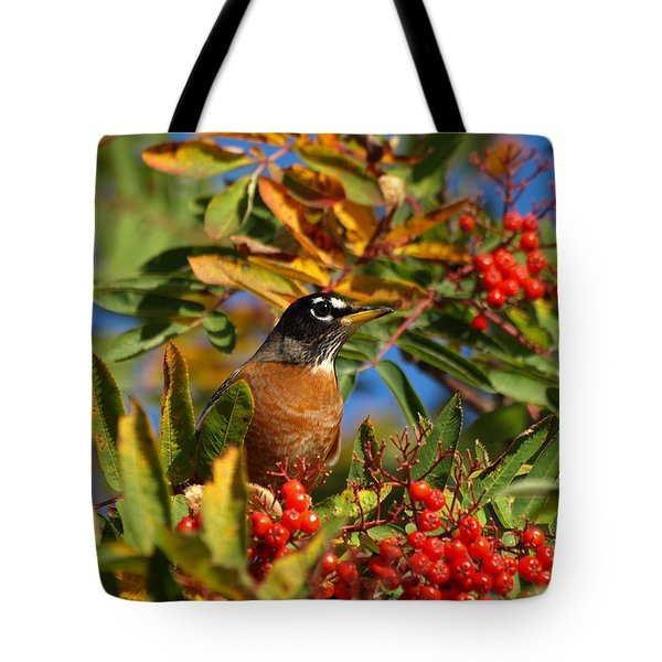 Tote Bag featuring the photograph American Robin by James Peterson