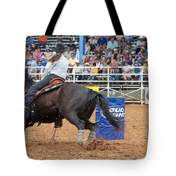 American Rodeo Female Barrel Racer Dark Horse IIi Tote Bag