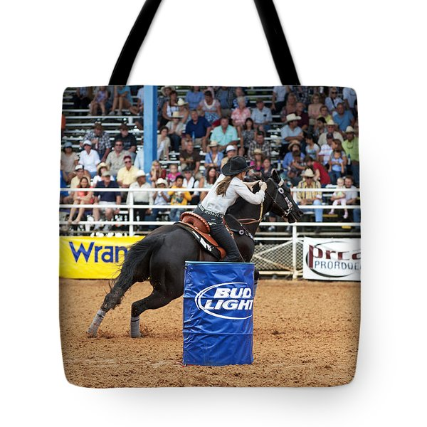 American Rodeo Female Barrel Racer Dark Horse Iv Tote Bag