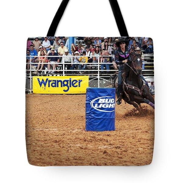 American Rodeo Female Barrel Racer White Star Horse I Tote Bag