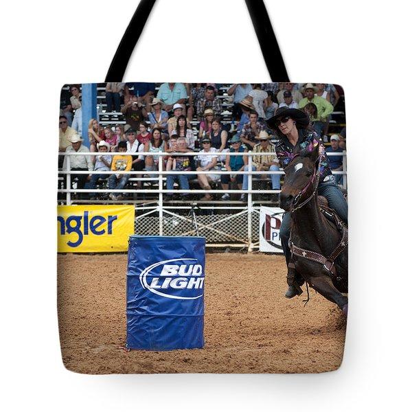 American Rodeo Female Barrel Racer White Star Horse IIi Tote Bag