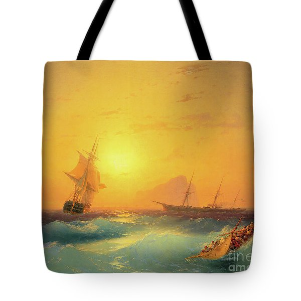 American Shipping Off The Rock Of Gibraltar Tote Bag