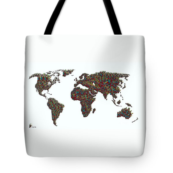 American Sign Language ... I Love You World Map  Tote Bag by Eloise Schneider