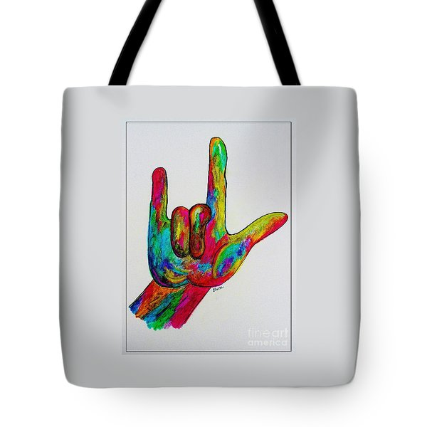 American Sign Language I Love You With A Border Tote Bag