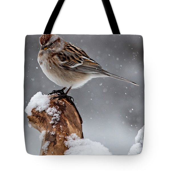 American Tree Sparrow In Snow Tote Bag
