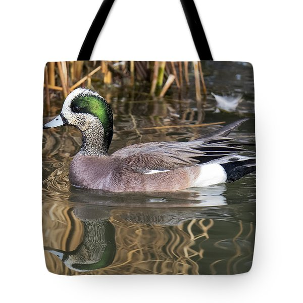 American Wigeon Reflections Tote Bag by Stephen  Johnson