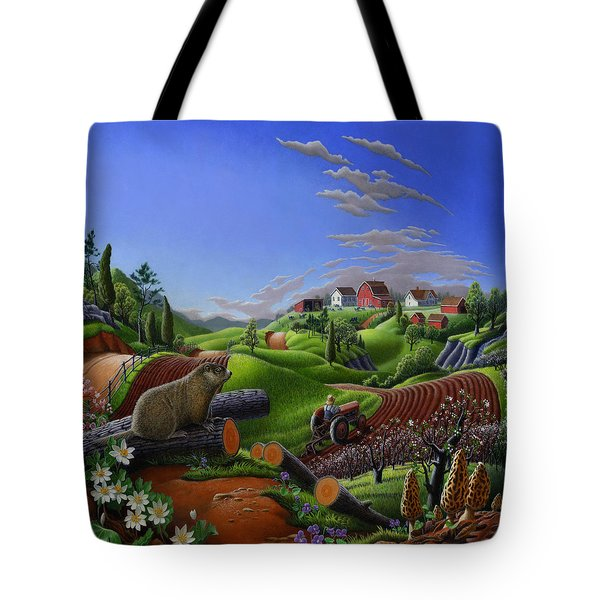 Americana Decor - Springtime On The Farm Country Life Landscape - Square Format Tote Bag by Walt Curlee