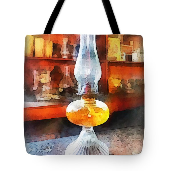 Americana - Hurricane Lamp In General Store Tote Bag by Susan Savad