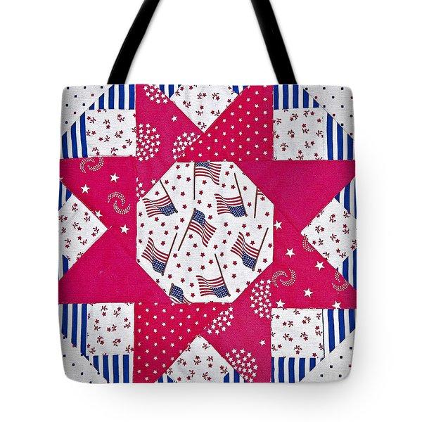 Americana Quilt Block Design Art Prints Tote Bag