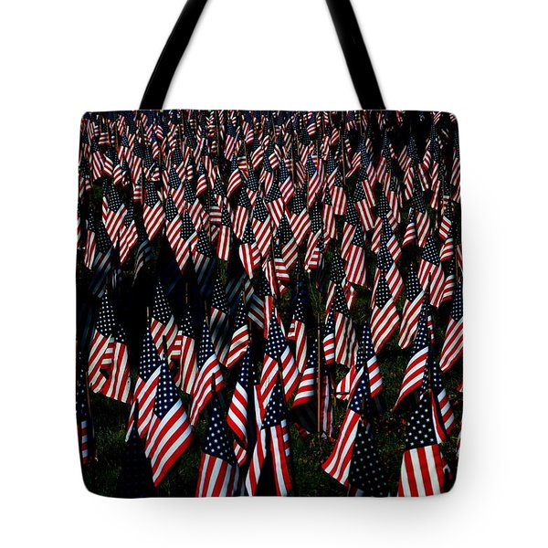 Tote Bag featuring the photograph Field Of Flags - Sturbridge Mass. by Jacqueline M Lewis