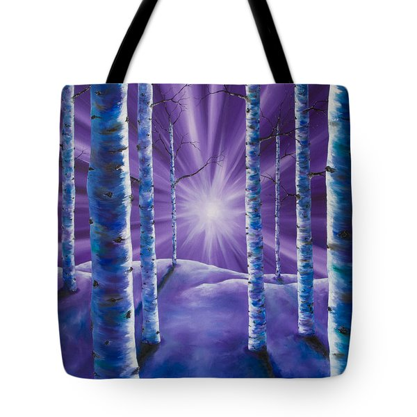 Tote Bag featuring the painting Amethyst Winter by Melinda Cummings