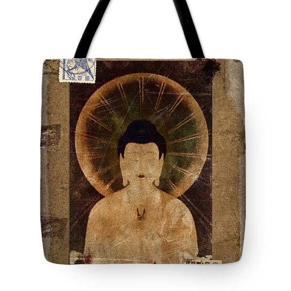 Amida Buddha Postcard Collage Tote Bag by Carol Leigh