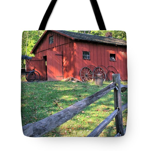 Amish Barn Along A Fenceline Tote Bag by Gordon Elwell