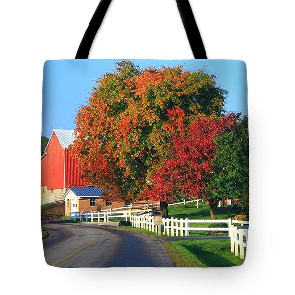 Amish Barn In Autumn Tote Bag