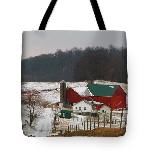 Amish Barn In Winter Tote Bag
