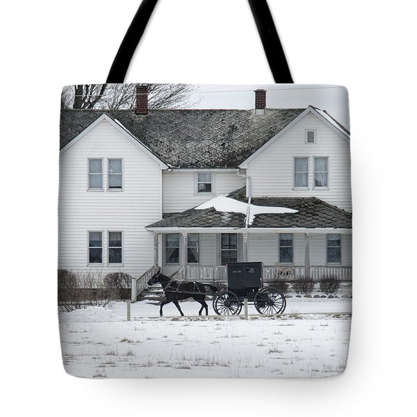 Amish Buggy And Amish House Tote Bag
