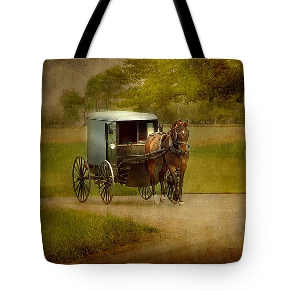 Tote Bag featuring the photograph Amish Buggy Ride by Dyle   Warren