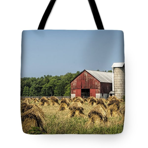 Amish Country Wheat Stacks And Barn Tote Bag by Kathy Clark