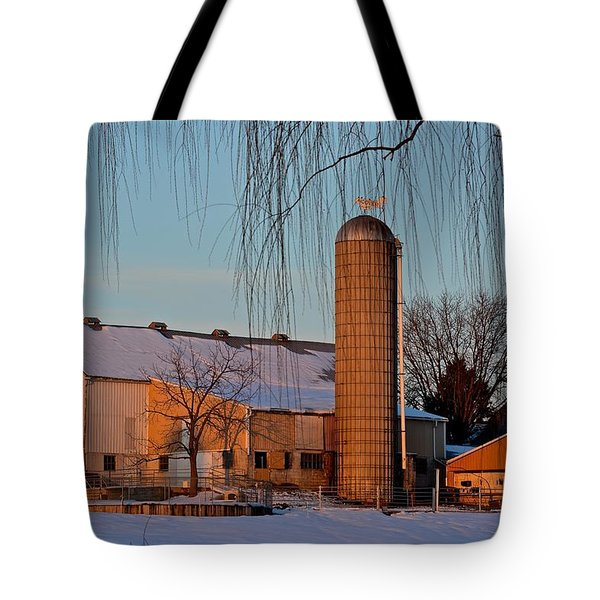Amish Farm At Turquoise Dusk Tote Bag