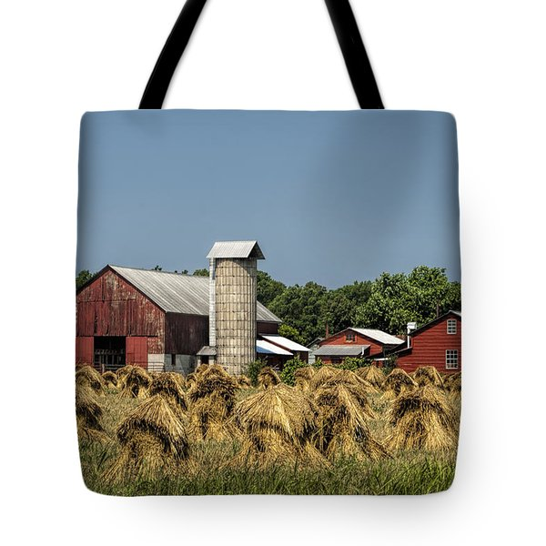 Amish Farm Wheat Stack Harvest Tote Bag by Kathy Clark