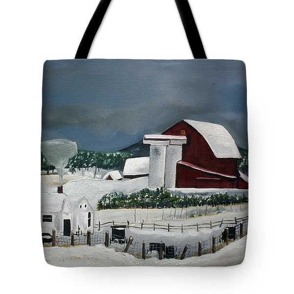 Amish Farm - Winter - Michigan Tote Bag by Jan Dappen