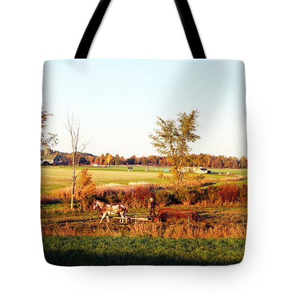 Amish Farmer Plowing A Field, Usa Tote Bag