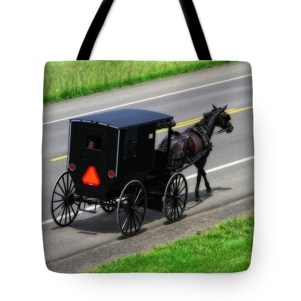 Amish Horse And Buggy In Ohio Tote Bag