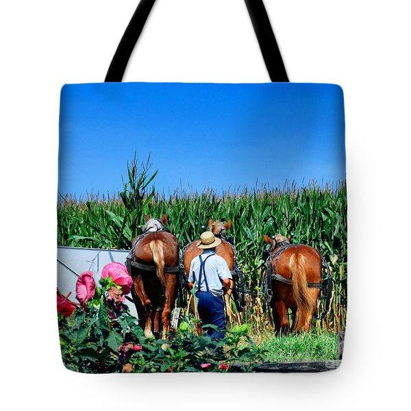 Amish Plowing Tote Bag