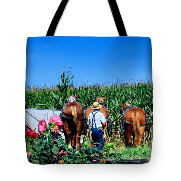 Amish Plowing Tote Bag