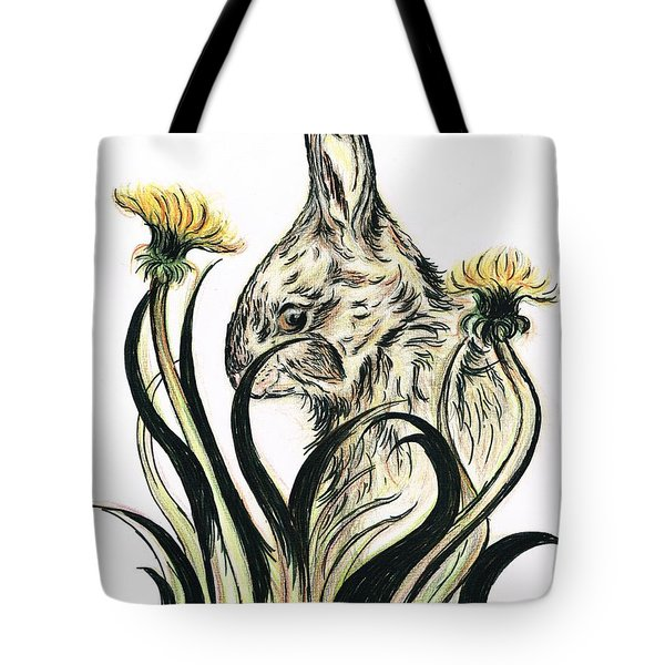 Rabbit- Amongst The Dandelions Tote Bag