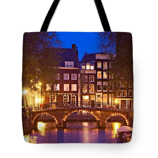 Amsterdam Bridge At Night Tote Bag
