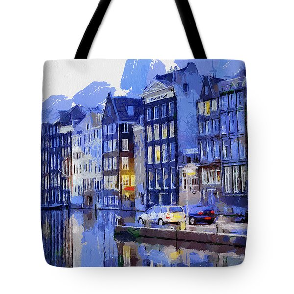 Amsterdam With Blue Colors Tote Bag by Georgi Dimitrov