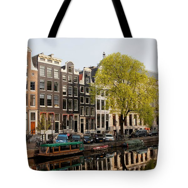 Amsterdam Houses Along The Singel Canal Tote Bag