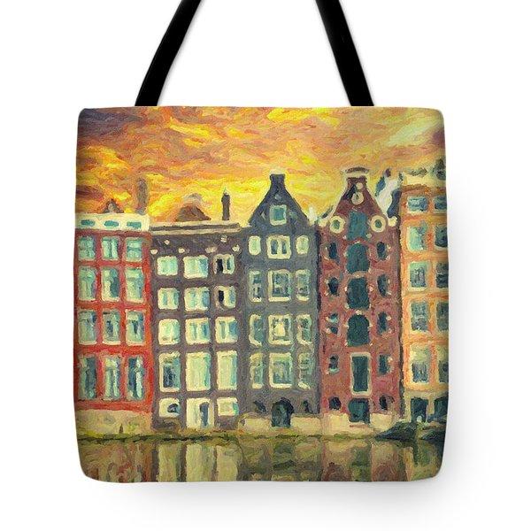 Tote Bag featuring the painting Amsterdam by Taylan Apukovska