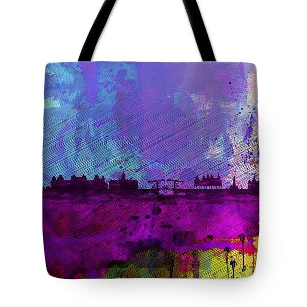 Amsterdam Watercolor Skyline Tote Bag by Naxart Studio