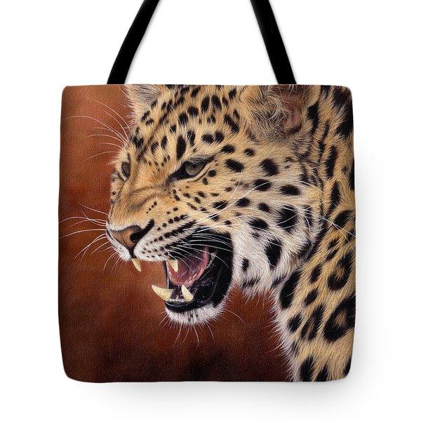 Amur Leopard Painting Tote Bag by Rachel Stribbling
