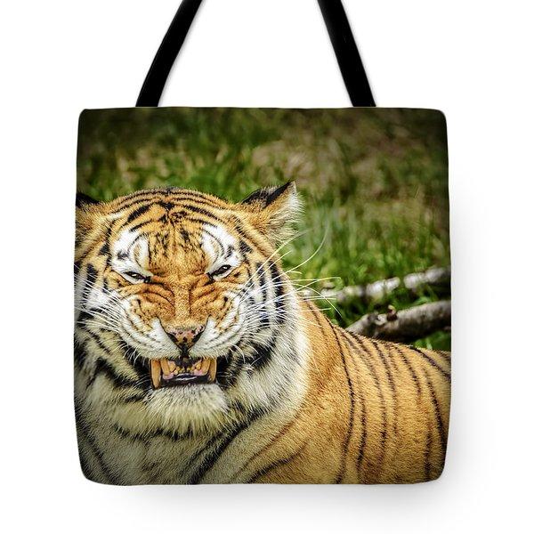 Amur Tiger Smile Tote Bag by LeeAnn McLaneGoetz McLaneGoetzStudioLLCcom