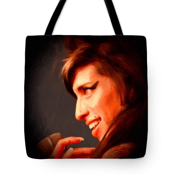 Amy Winehouse Tote Bag by Michael Pickett