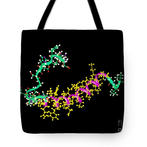 Amyloid Beta Peptide Tote Bag by Leonard Lessin