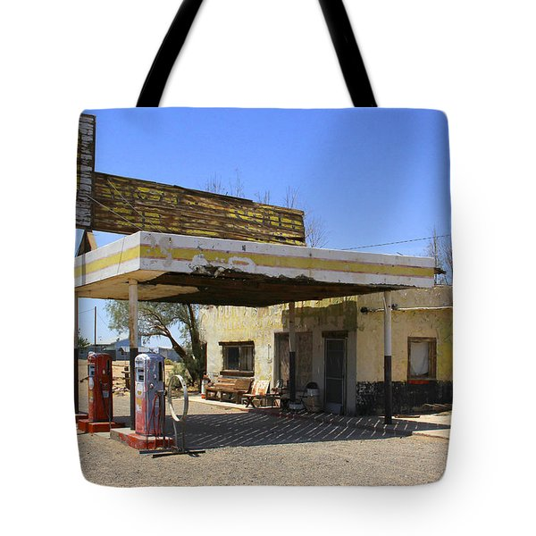 An Abandon Gas Station On Route 66 Tote Bag by Mike McGlothlen