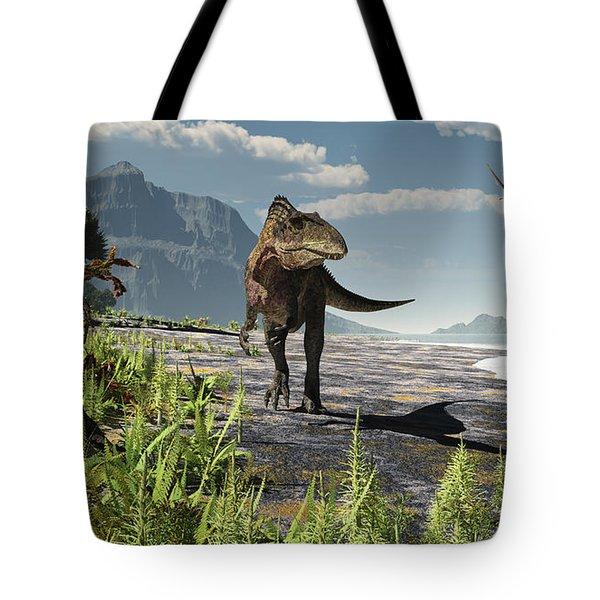 An Acrocanthosaurus Roams An Early Tote Bag by Arthur Dorety