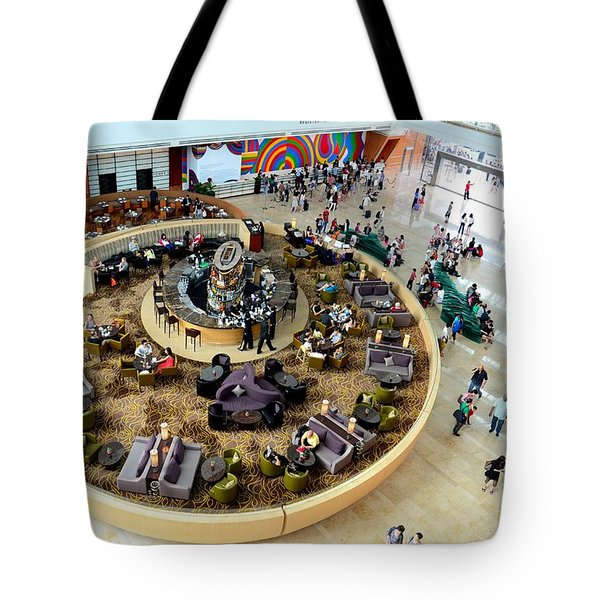 An Aerial View Of The Marina Bay Sands Hotel Lobby Singapore Tote Bag