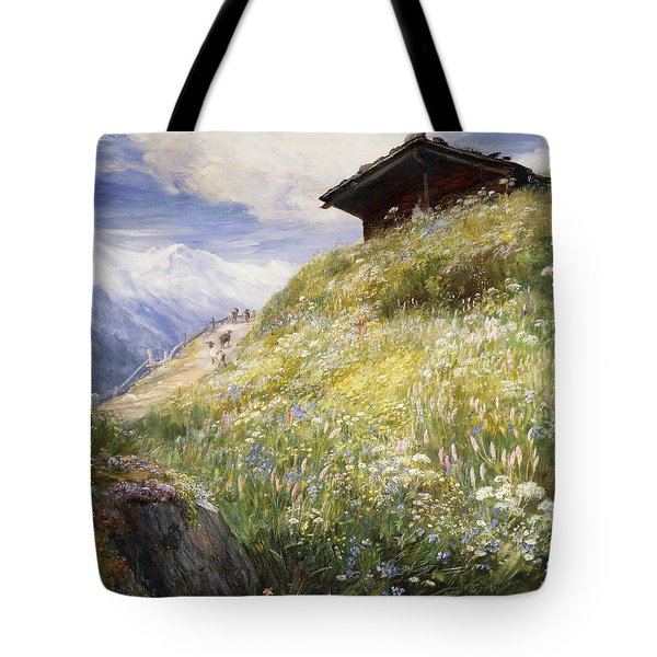 An Alpine Meadow Switzerland Tote Bag by John  MacWhirter