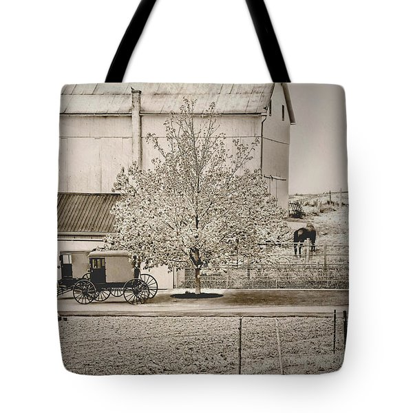 An Amish Farm In Sepia Tote Bag